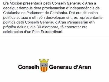 Comunicado del Consejo General de Arán
