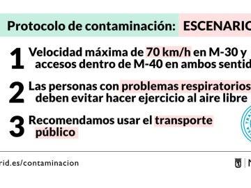 Escenario 1 del protocolo anticontaminación en Madrid