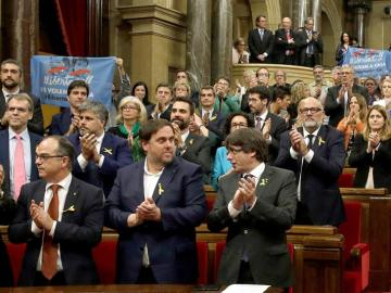 El Parlament tras votar a favor de la independencia unilateral