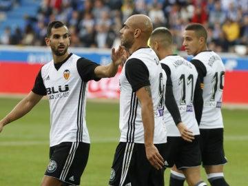 Zaza celebra un gol con el Valencia