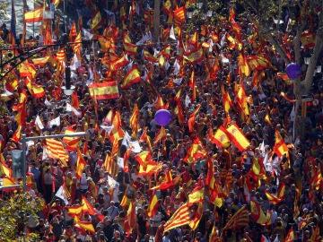 Manifestación antiindependentista en Barcelona
