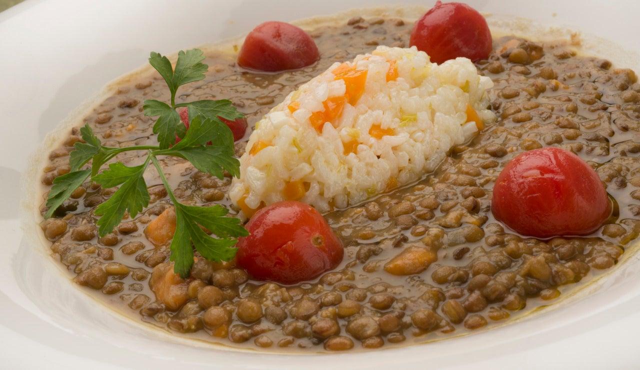 Lentejas con boniato y arroz