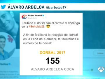 Arbeloa y su dorsal en la Behobia-San Sebastián
