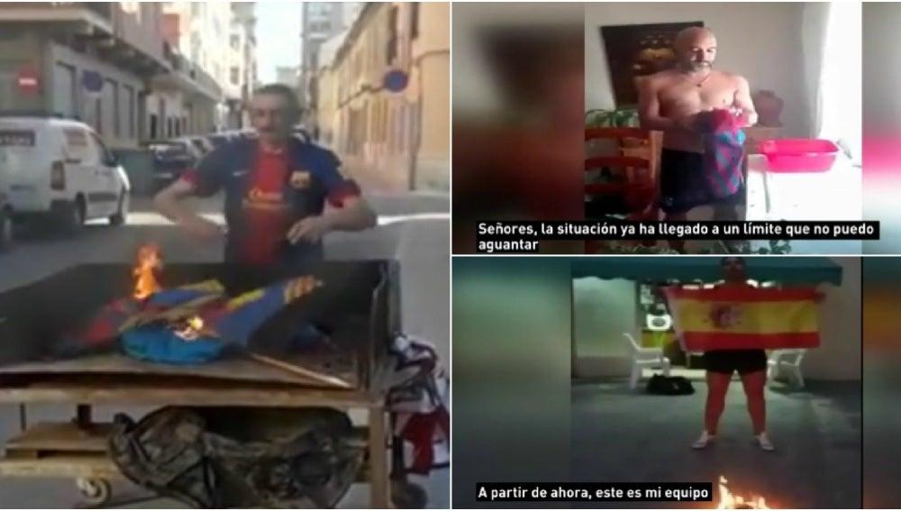 Aficionados culés queman la camiseta del Barcelona