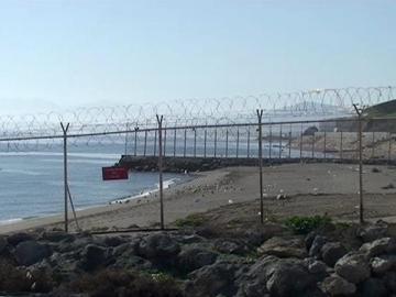 Imagen de televisión de la frontera de Ceuta