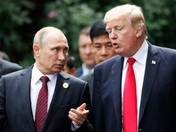 Los presidentes de Rusia, Vladímir Putin, y Estados Unidos, Donald Trump