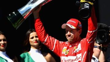 Vettel celebra la victoria en el GP de Brasil