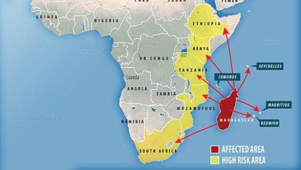 Países a los que puede llegar la peste