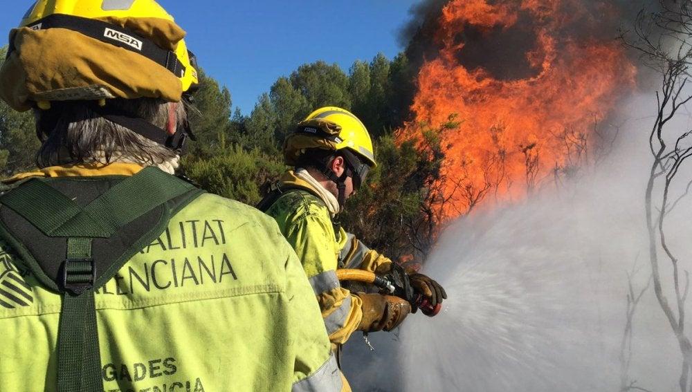 Medios terrestes y aéreos trabajan en la extinción de un incendio forestal en Cabanes