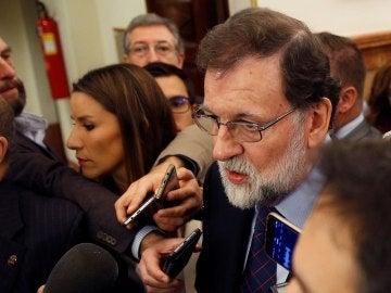 Rajoy, en los pasillos del Congreso
