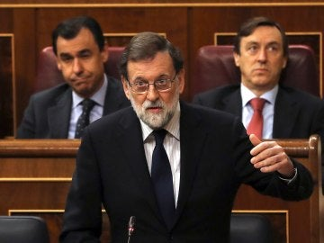El jefe del Ejecutivo, Mariano Rajoy, durante su intervención