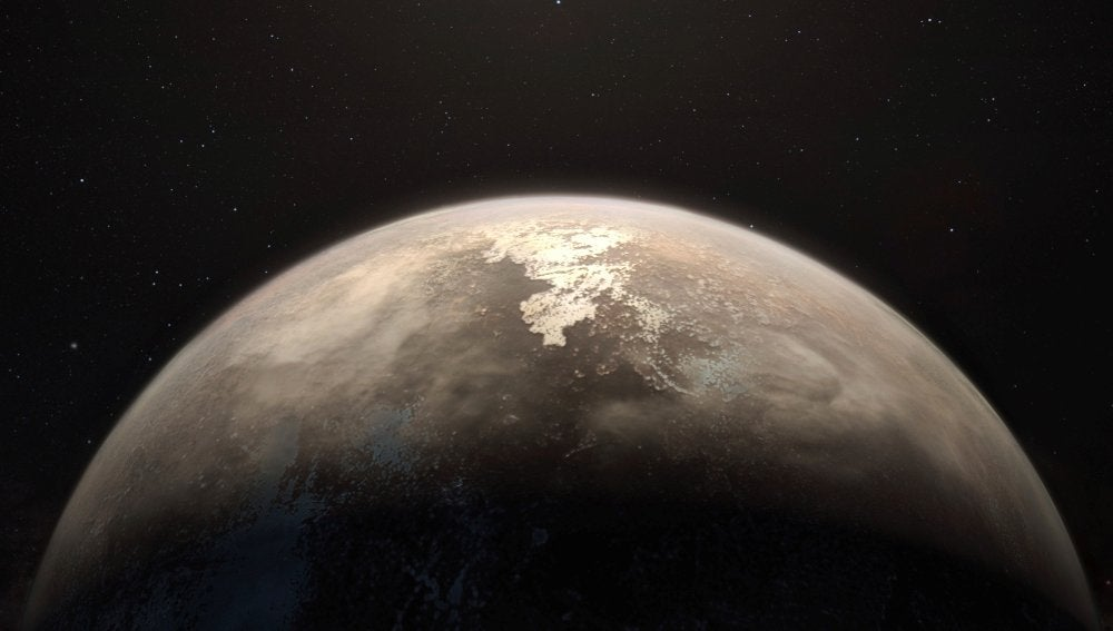 Esta recreación artística muestra al planeta templado Ross 128 b