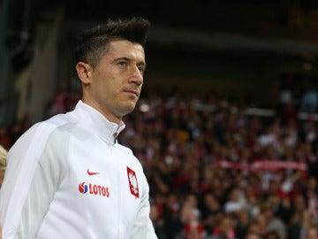 Robert Lewandowski, en un partido con Polonia