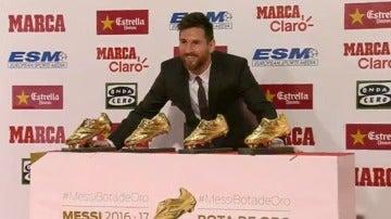 Messi, con sus cuatro Botas de Oro