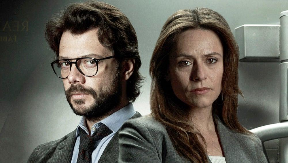 El Profesor y la inspectora Raquel Murillo en 'La casa de papel'
