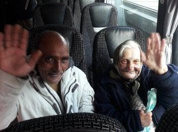 Flor y su pareja, en el autobús camino de Rumanía