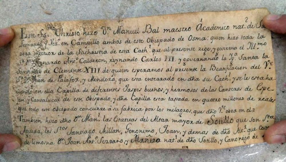 La nota hallada en una talla del siglo XVIII