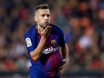Jordi Alba celebra su gol con el Barcelona