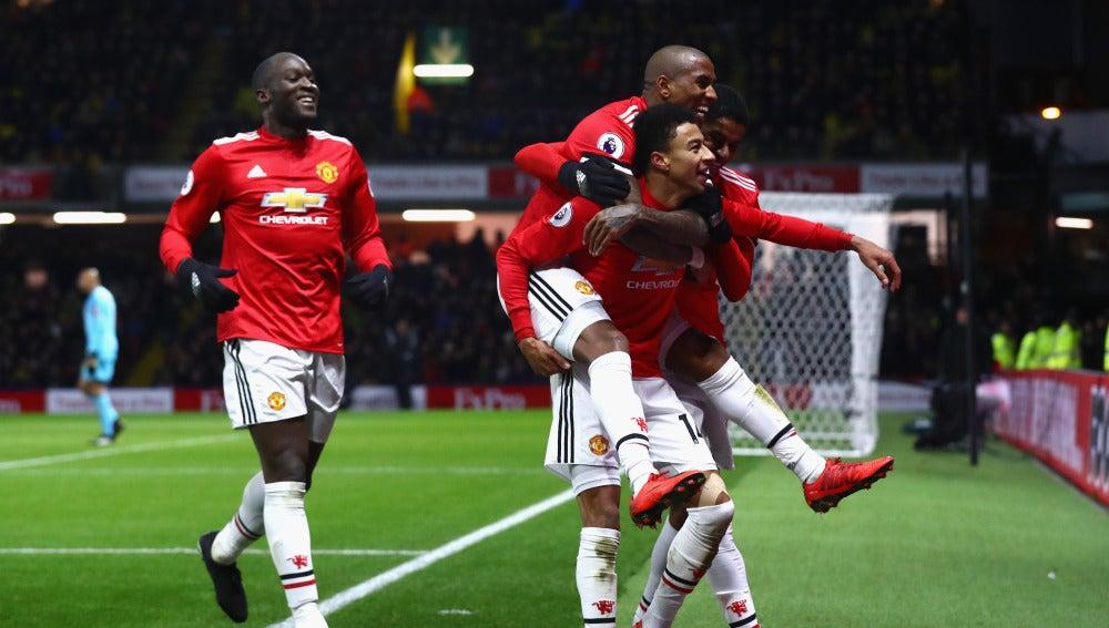 Los jugadores del United celebran un gol ante el Watford