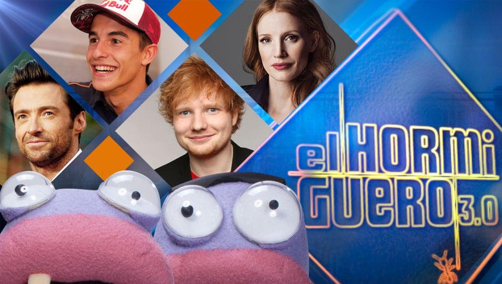 Hugh Jackman, Ed Sheeran, Jessica Chastain y Marc Márquez se divertirán en los próximos días en 'El Hormiguero 3.0'