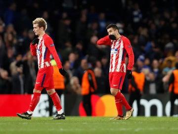 Los jugadores del Atlético de Madrid, tras caer eliminados en la Champions