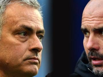 Mourinho y Guardiola, frente a frente en el derbi de Manchester