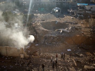 Efectos del bombardeo de la aviación israelí sobre Gaza