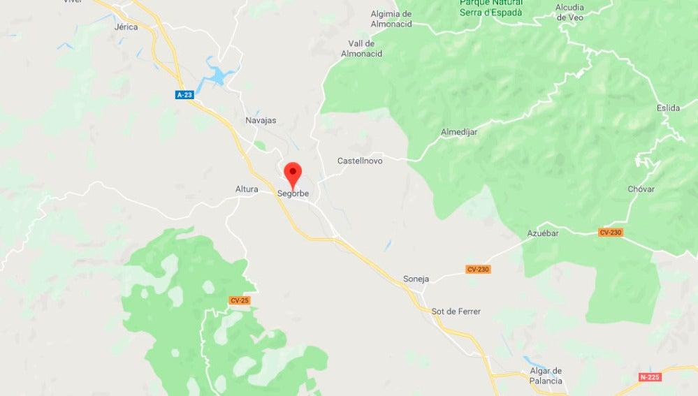 Mapa Segorbe, en Castellón