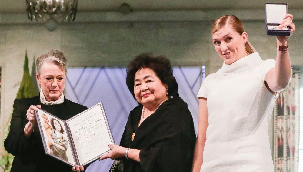 Setsuko Thurlow, en la entrega de los Nobel