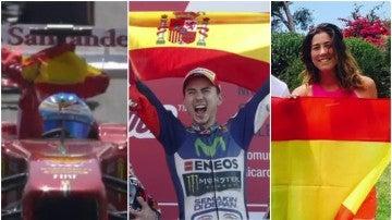 Deportistas luciendo la bandera de España