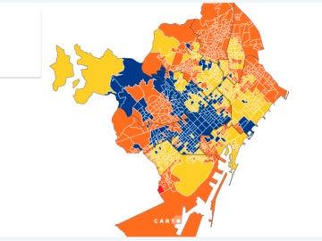 Mapa barrios de Barcelona