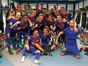 El Barcelona celebra su victoria ante el Real Madrid