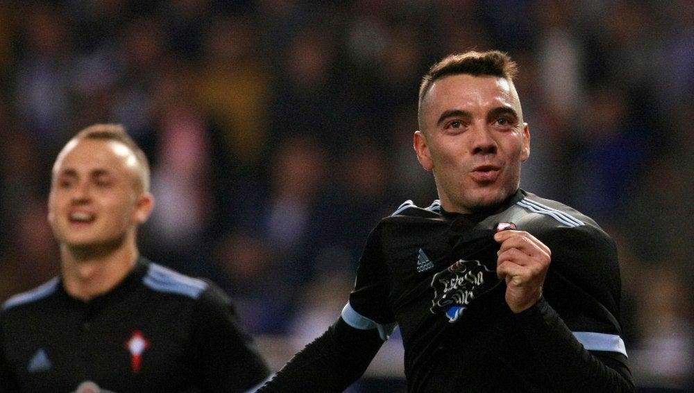Iago Aspas celebra un gol en Riazor