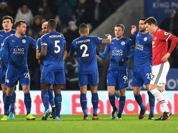 El Leicester celebra un gol