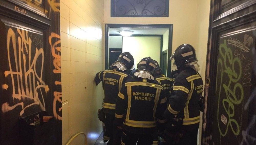 Imagen del ascensor que se ha descolgado en Madrid