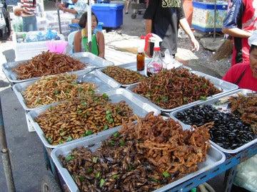 Insectos en un mercado callejero asiático.