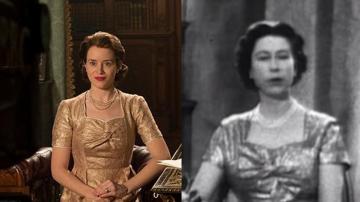 Claire Foy en 'The Crown' y la reina Isabel II durante el primer discurso televisado de Navidad
