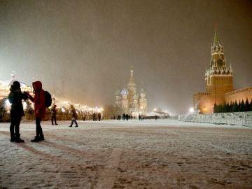 La ciudad de Moscú nevada