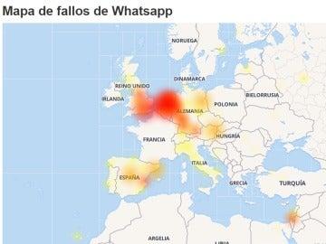 Mapa de fallos de Whatsapp