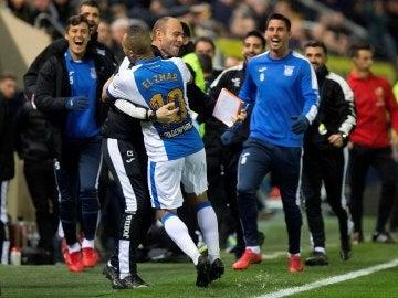 El Zhar celebra su gol ante el Villarreal