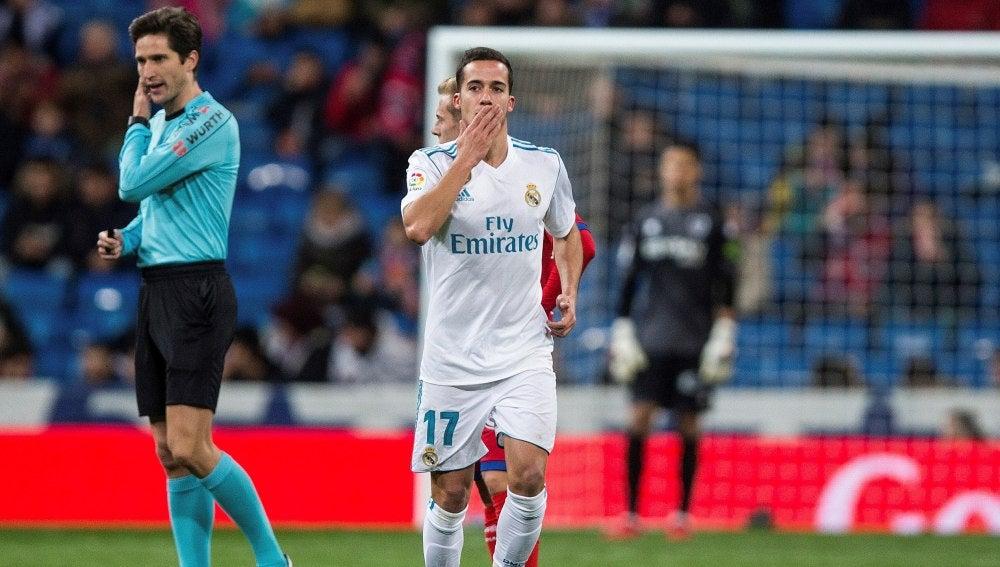Lucas Vázquez celebra un gol ante el Numancia