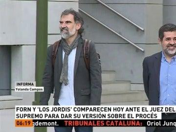 Forn y 'los Jordis' comparecen ante el juez del Supremo