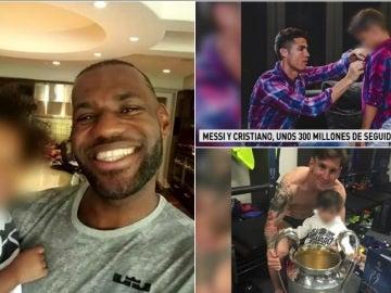 LeBron, Cristiano y Messi posan con sus hijos en las redes sociales