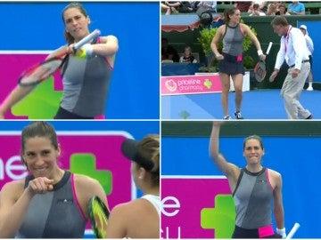 La tenista Petkovic baila en mitad de su partido