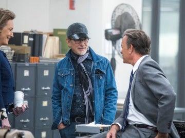 Streep, Spielberg y Hanks en el rodaje de 'Los archivos del Pentágono'