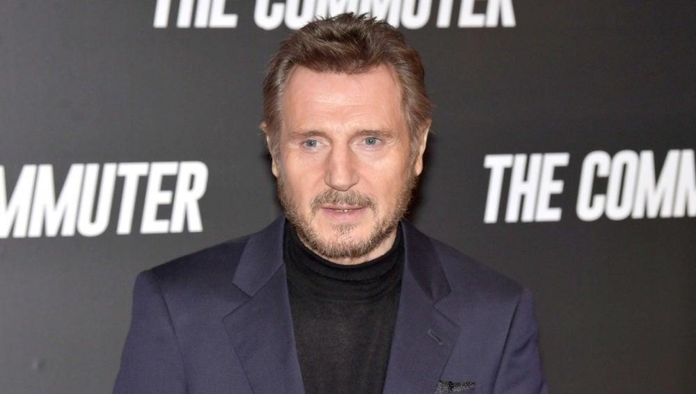 Liam Neeson presentando 'The Commuter'