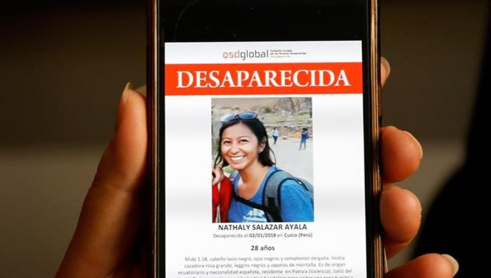 Imagen de Nathaly Salazar, la joven desaparecida desde el pasado 1 de enero en Perú