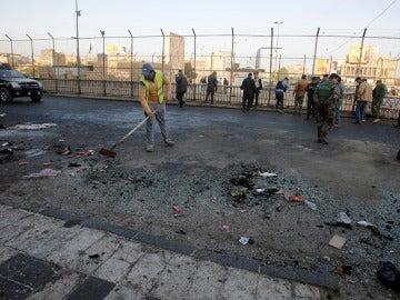 Lugar en el que tuvo lugar un doble atentado en Bagdad