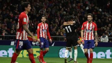 Jesús Navas celebra su gol en el Wanda.