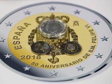 Pieza de 2 euros conmemorativa por los 50 años del Rey Don Felipe VI